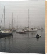Foggy Camden Harbor Wood Print