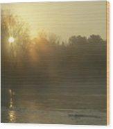 Foggy Mississippi River Sunrise Wood Print