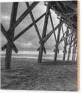 Folly Beach Pier Black And White Wood Print