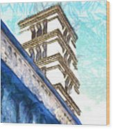Foreshortening With Bell Tower Wood Print