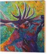Forest Echo - Bull Elk Wood Print by Marion Rose