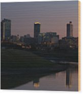 Fort Worth Skyline At Sunset Wood Print