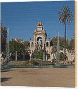 Fountain In A Park, Parc De La Wood Print