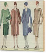 Four Flappers Modelling French Designer Outfits, 1928  Wood Print