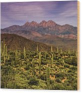 Four Peaks Golden Hour  Wood Print