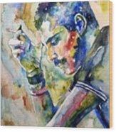 Freddie Mercury Watercolor Wood Print
