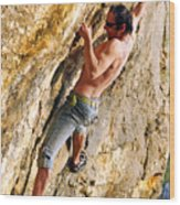 Free Climber Wood Print
