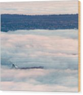 Freighter In The Clouds Wood Print