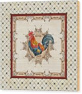 French Country Roosters Quartet Cream 2 Wood Print