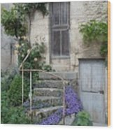 French Staircase With Flowers Wood Print