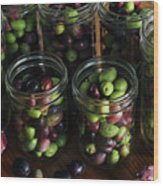 Fresh Harvested Olives And Tunas Wood Print