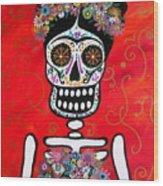 Frida Dia De Los Muertos Wood Print