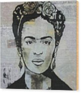 Frida Kahlo Press Wood Print