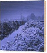 Frosty Field Wood Print