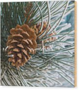 Frosty Pine Needles And Pine Cones Wood Print