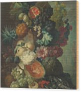 Fruit Flowers And A Fish Wood Print