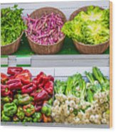 Fruits And Vegetables On A Supermarket Shelf Wood Print by Deyan Georgiev