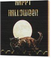 Full Moon Cat Wood Print
