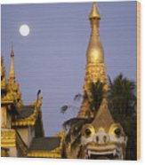 Full Moon In Burma Wood Print