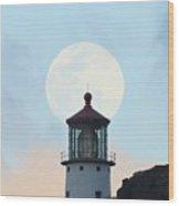 Full Moon Over Makapu'u Light Wood Print