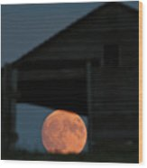 Full Moon Seen Through Old Building Window Wood Print