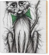 Fuzzy Cat Wood Print