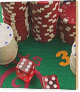 Gambling Dice Wood Print