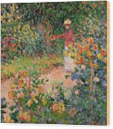 Garden At Giverny Wood Print by Claude Monet