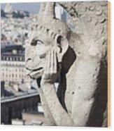 Gargoyle Guarding The Notre Dame Basilica In Paris Wood Print