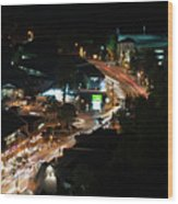 Gatlinburg, Tennessee At Night From The Space Needle Wood Print