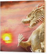 Giant Golden Chinese Dragon Wood Print