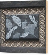 Ginko Leaves And Feathers Wood Print
