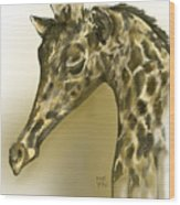 Giraffe Contemplation Wood Print