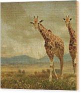 Giraffes In The Meadow Wood Print