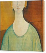 Girl In A Green Blouse Wood Print