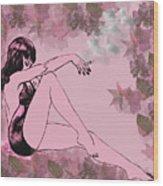 Girl In Bathing Suit Wood Print