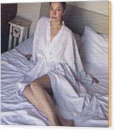 girl in the Bathrobe lying Wood Print
