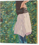 Girl On The Bridge Wood Print