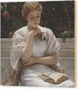 Girl Reading Wood Print