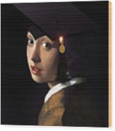 Girl With The Grad Cap Wood Print