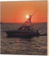 Going Fishing - Silhouette Wood Print