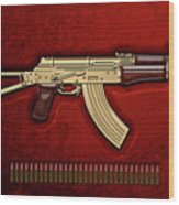 Gold A K S-74 U Assault Rifle With 5.45x39 Rounds Over Red Velvet   Wood Print