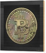 Gold Bitcoin Effigy Over Black Canvas Wood Print