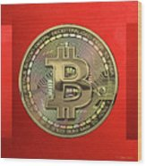Gold Bitcoin Effigy Over Red Canvas Wood Print