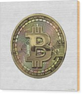 Gold Bitcoin Effigy Over White Leather Wood Print