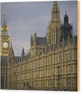 Golden Big Ben Wood Print