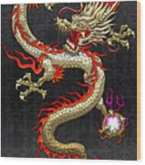 Golden Chinese Dragon Fucanglong  Wood Print