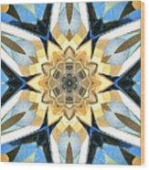 Golden Flower Abstract Wood Print