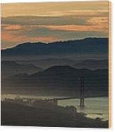 Golden Gate Bridge And San Francisco Bay At Sunset Wood Print