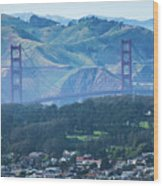 Golden Gate Bridge View From Twin Peaks San Francisco Wood Print